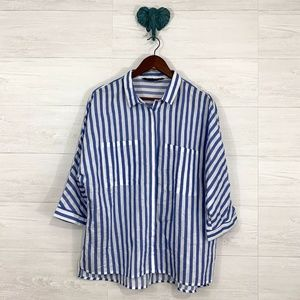 Zara Basic Blue White Striped Boxy Dolman Slv Top